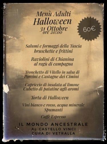 Il Mondo Ancestrale Halloween 2018 menu adulti
